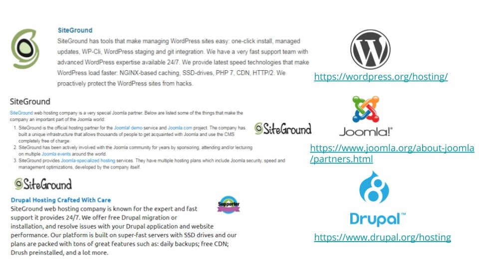 recommended by wordpress, joomla and drupal