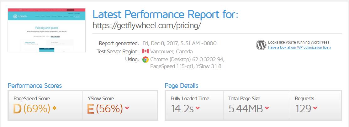 Flywheel Pricing Page Speed Test