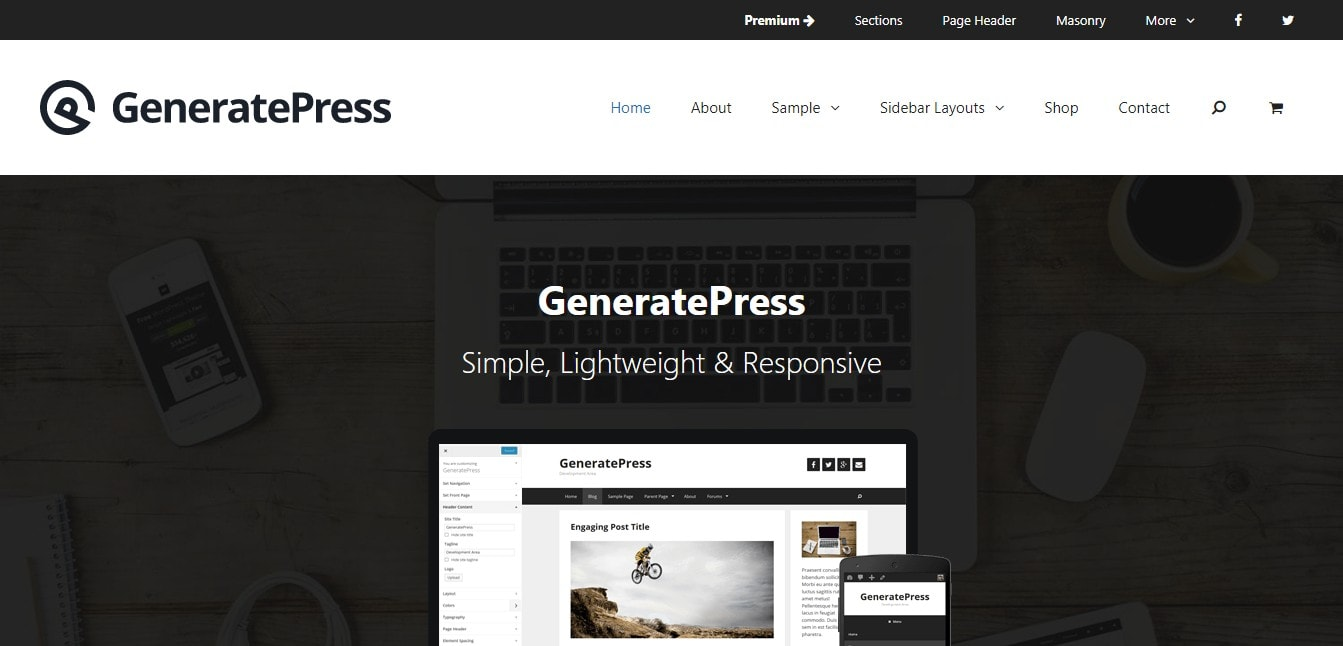 GeneratePress - tema de wordpress más rápido
