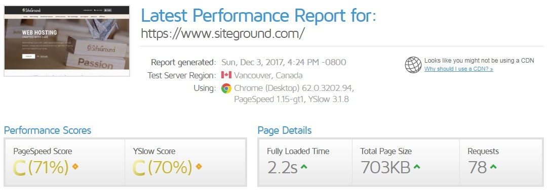 siteground homepage speed