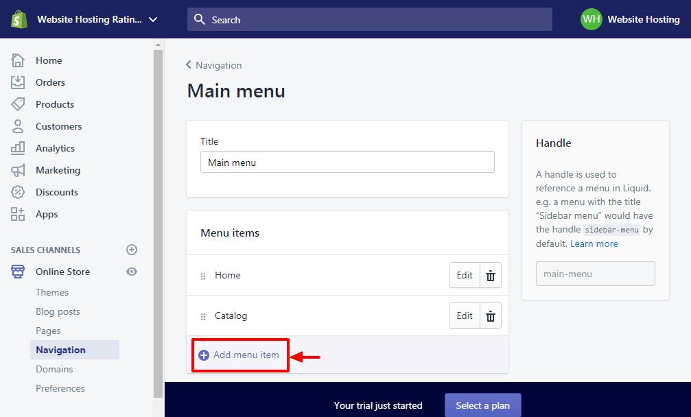 aggiungendo una nuova voce di menu in shopify
