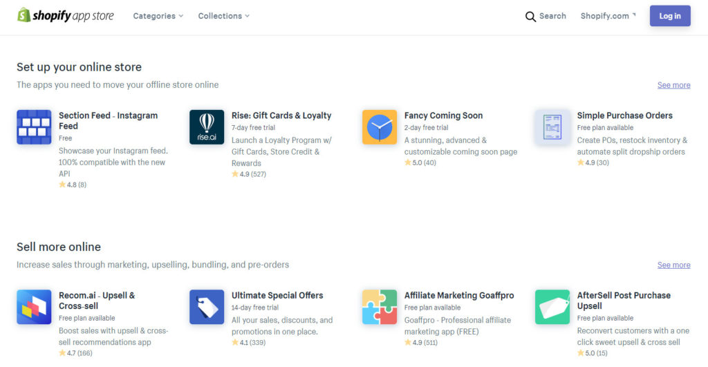 shopify app store homepage