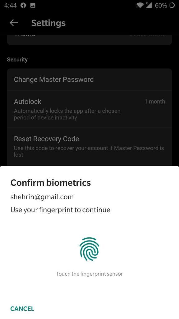 Biometric Authentication settings