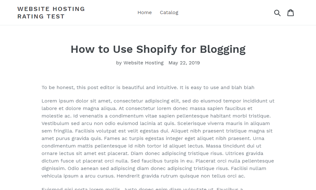post sul blog in shopify