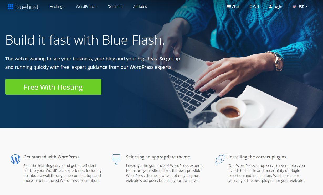 bluehost 파란색 플래시
