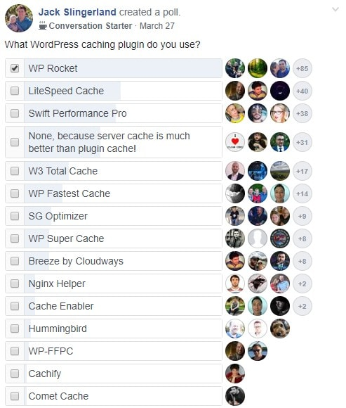 caching plugin facebook poll