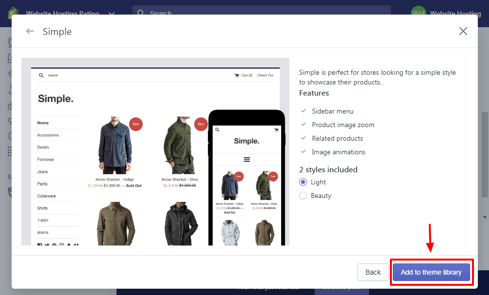 choosing a theme in shopify