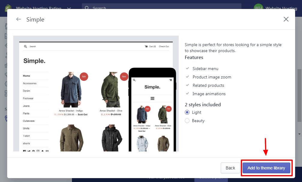 scegliere un tema in shopify