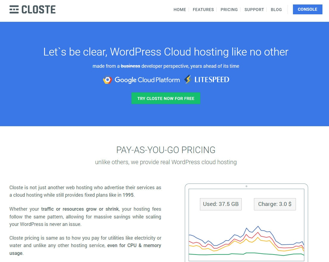 hosting platform cloud google closte