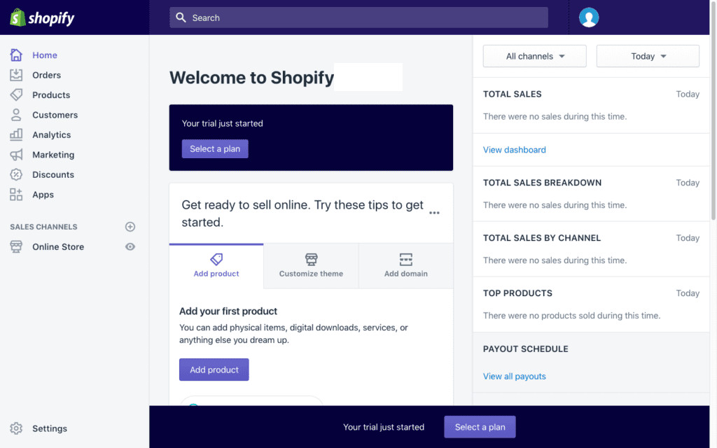 dashboard di shopify