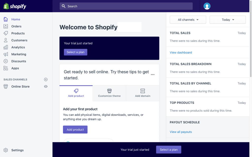 shopify's dashboard
