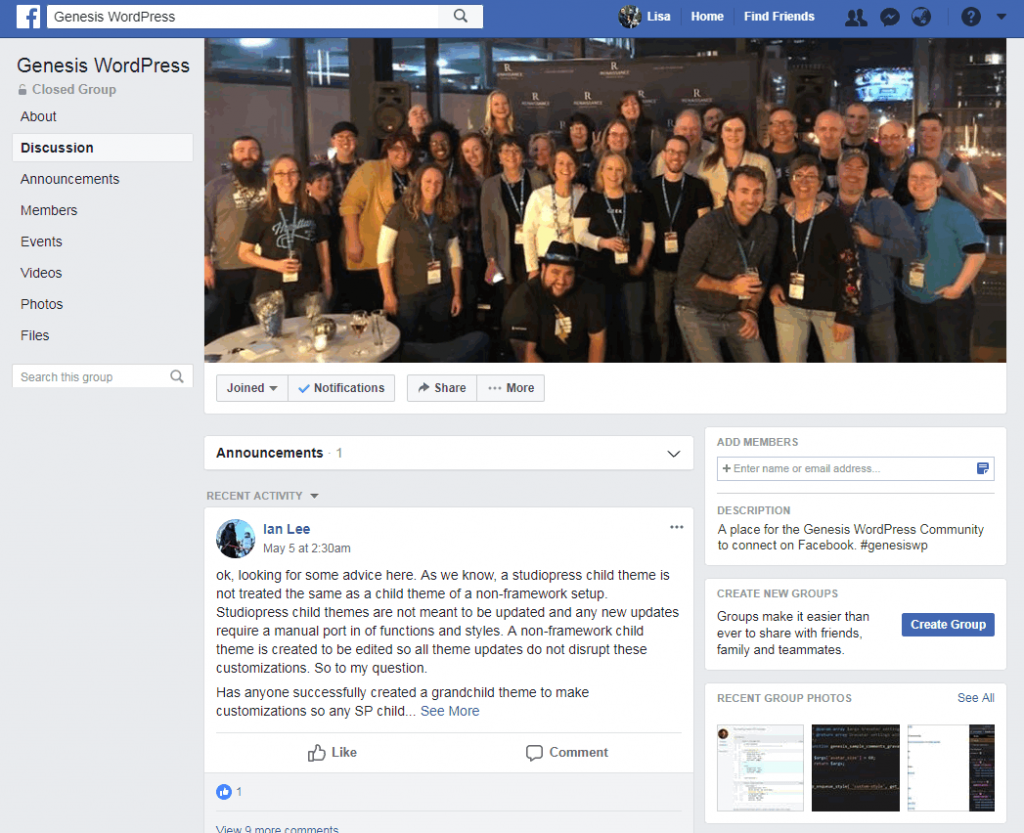 Groupe Facebook de StudioPress Genesis