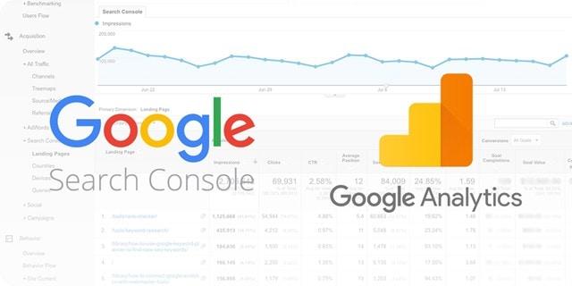جوجل البحث وحدة التحكم وتحليلات جوجل