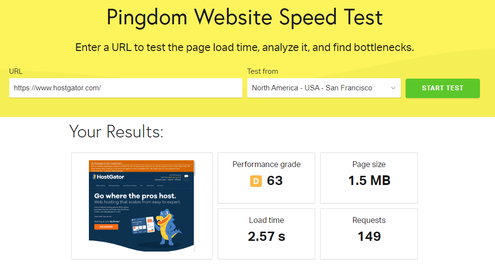 hostgator hjemmeside hastighedstest