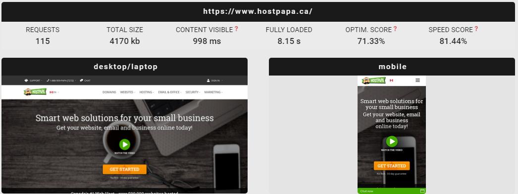 hostpapa 캐나다 속도 테스트