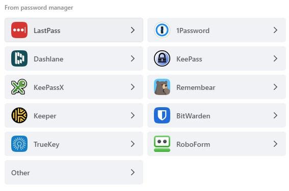 import from other password managers