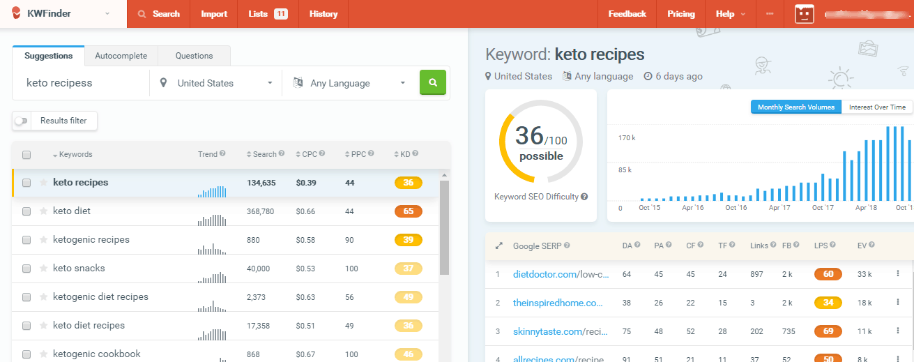 kwfinder keyword research tool