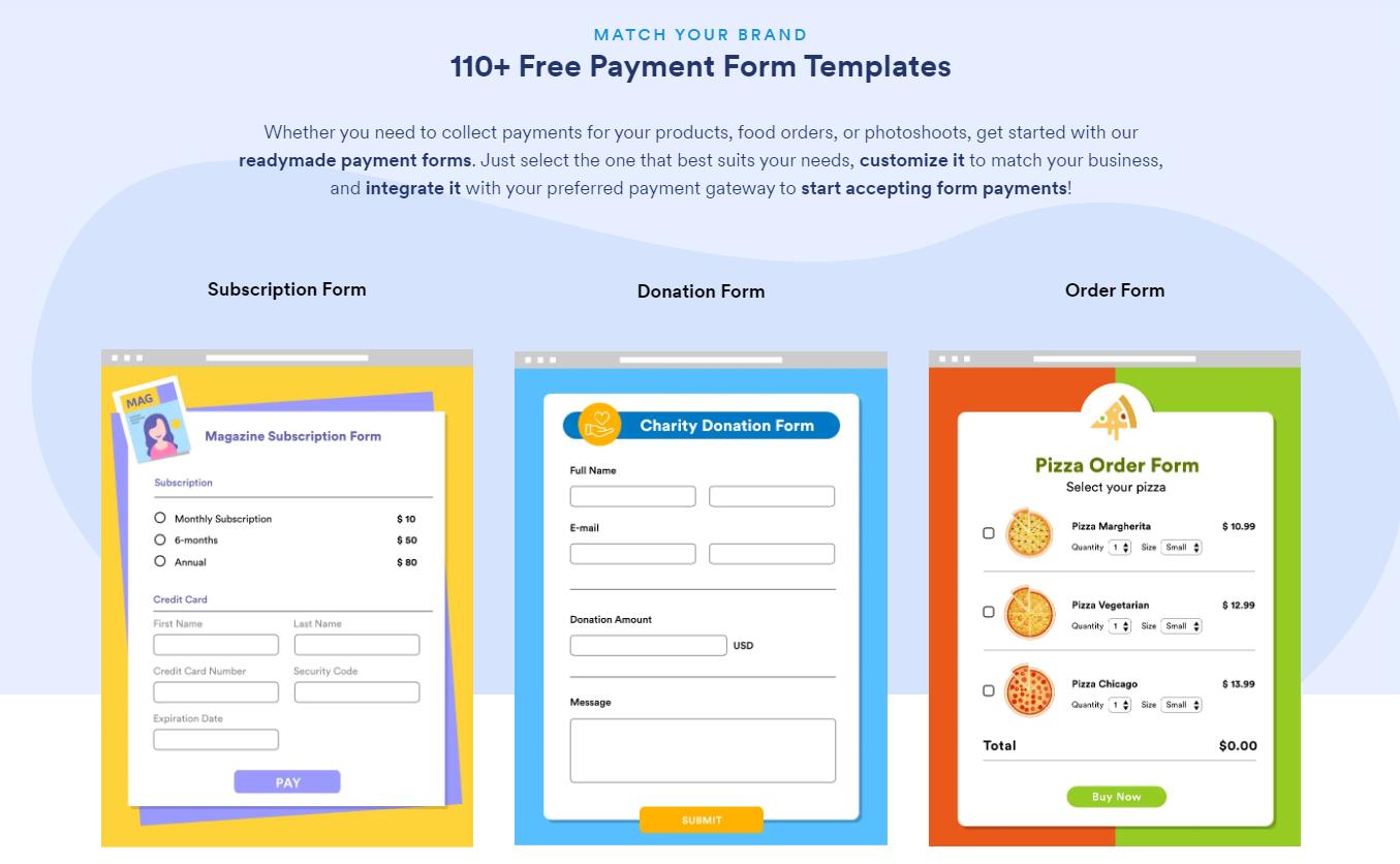 jotform formulaires de paiement