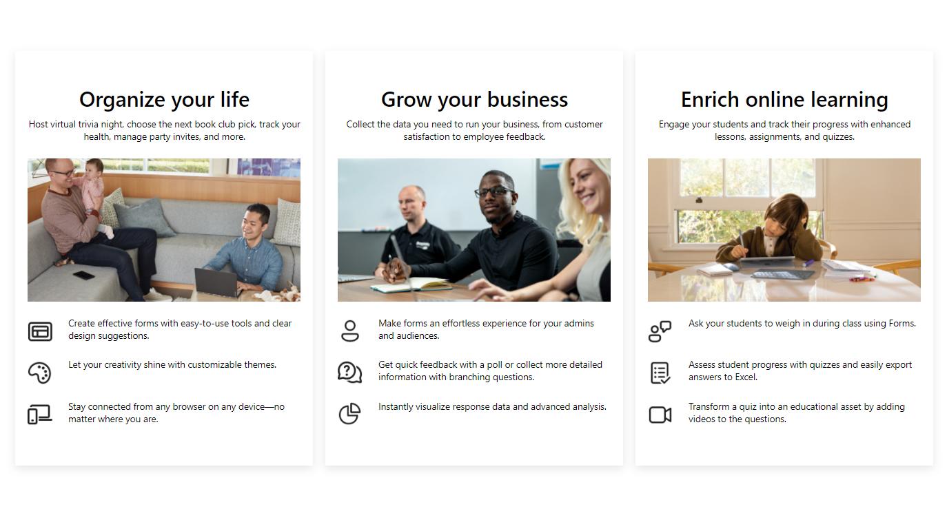 Fonctionnalités du formulaire Microsoft