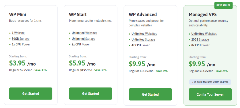Scala's WordPress hosting is identical to its shared options