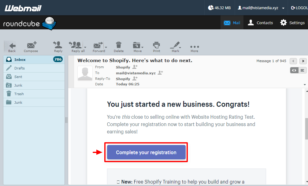 shopify conferma email