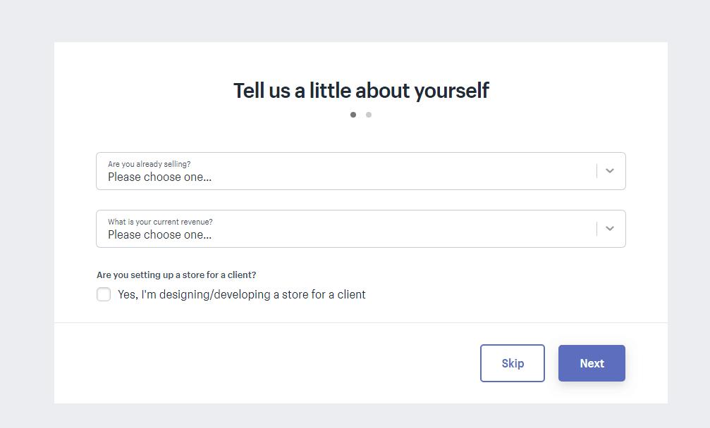 shopify pagina di benvenuto