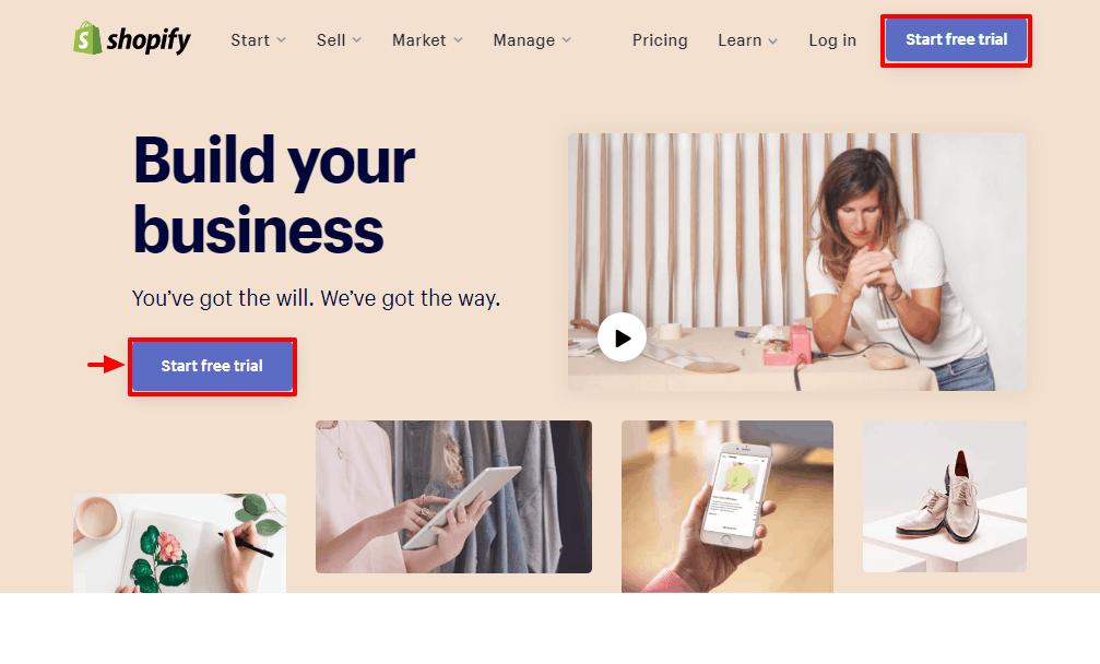 shopify homepage del sito ufficiale