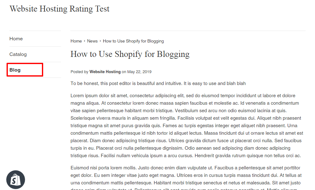 shopify sample blog