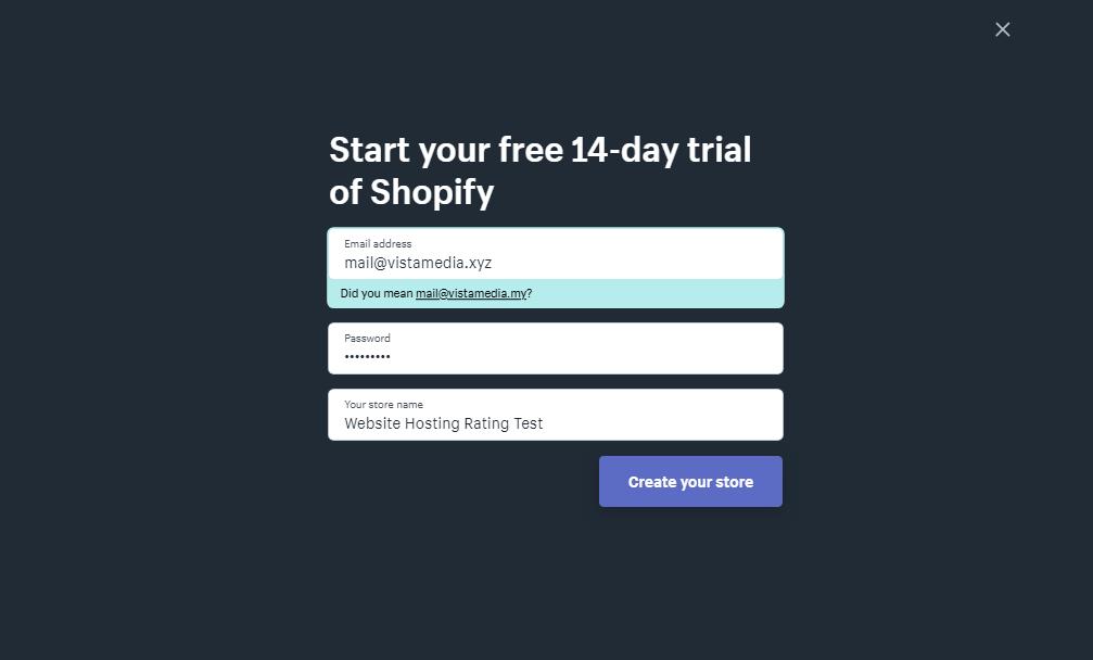 forma di iscrizione shopify