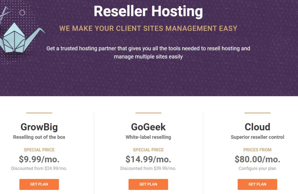 Cennik hostingu dla resellerów Siteground