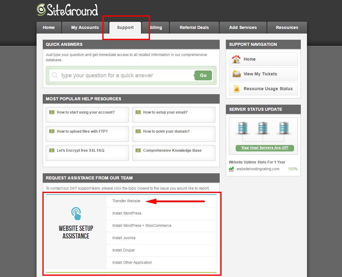 Layanan transfer situs web siteground