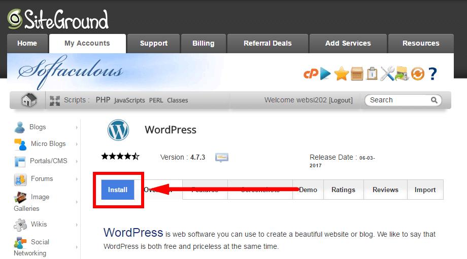 SiteGround wordpress инсталация