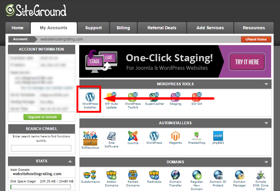SiteGround cpanel wordpress installerare
