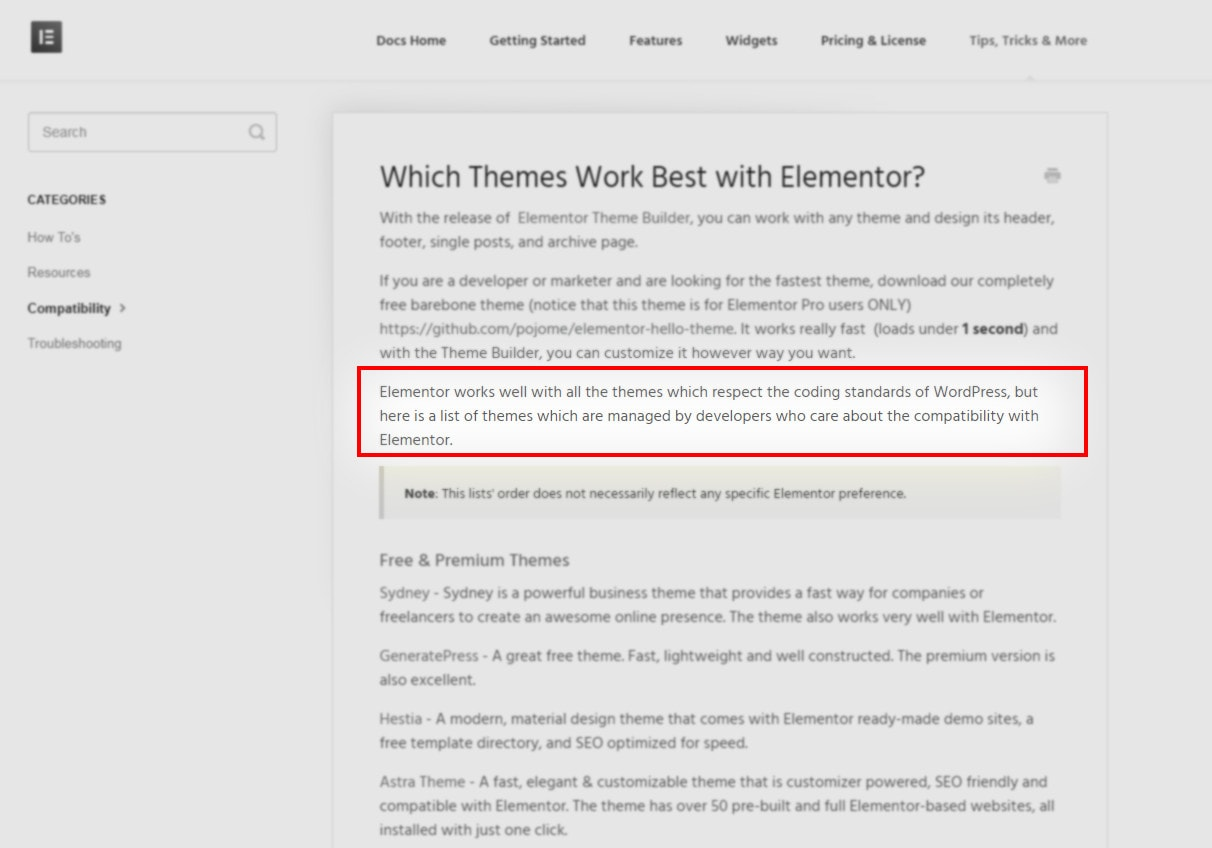 which themes work best with elementor
