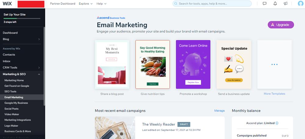 marketing por correo electrónico wix