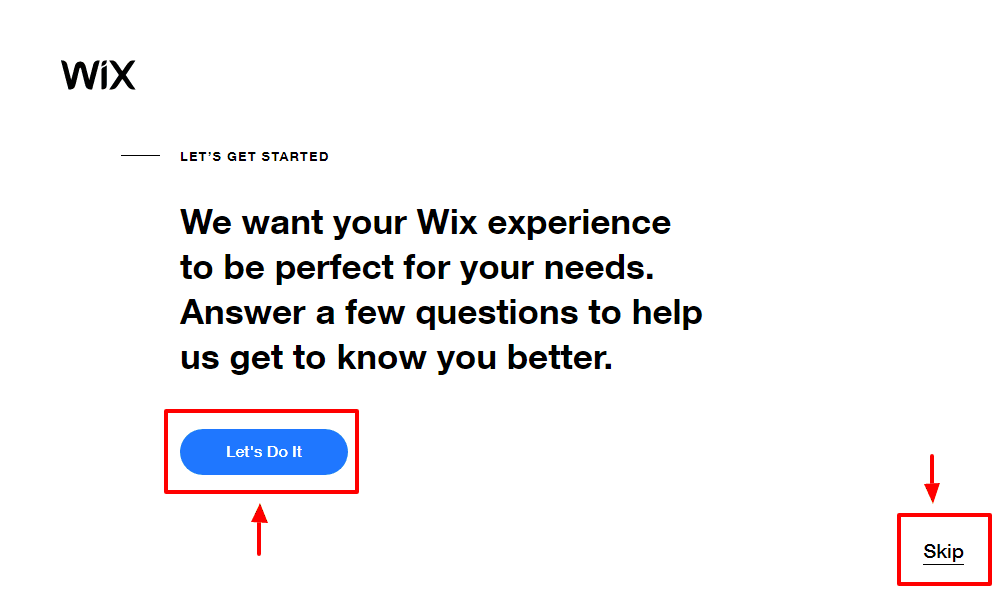 wix skippable welcome page