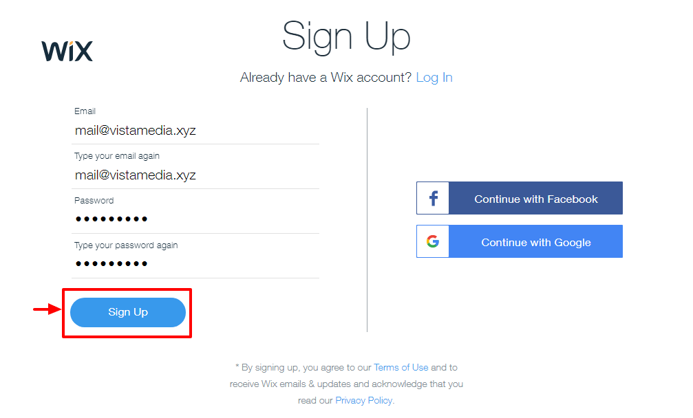 wix sign up form