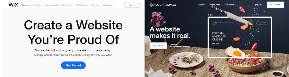wix vs squarespace review