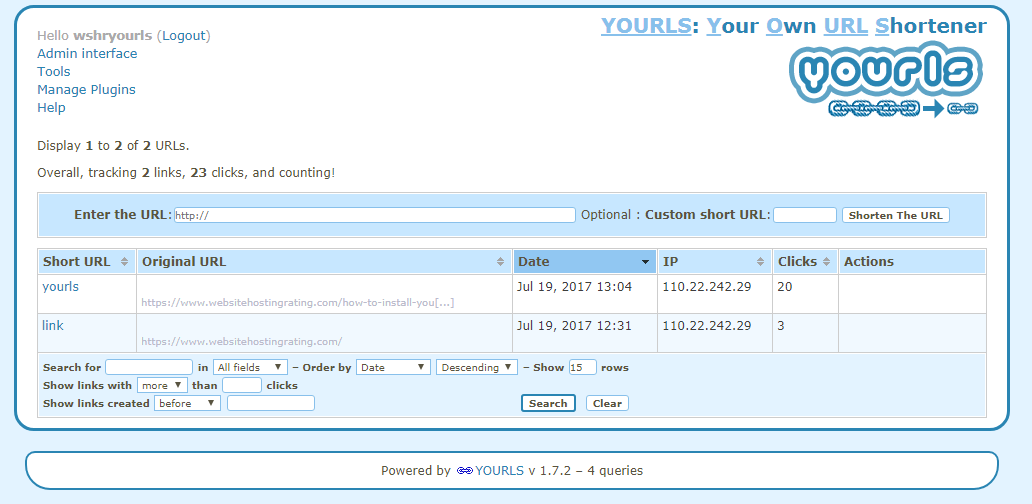 yourls url shortener tableau de bord