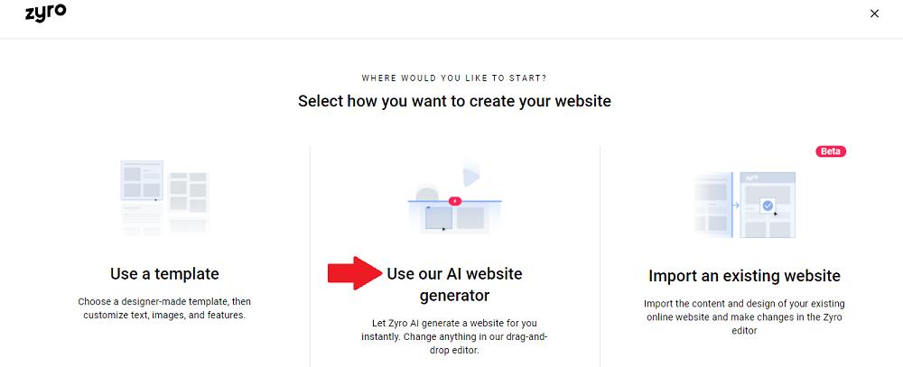 Zyro AI генератор веб-сайтов